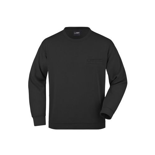 Men's Round Sweat Pocket - Klassisches Sweatshirt mit Brusttasche (Art.-Nr. CA139324) - Hochwertige Sweat-Qualität mit angeraut...