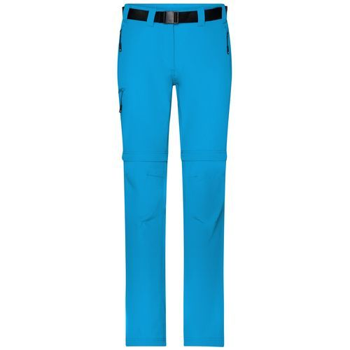Ladies' Zip-Off Trekking Pants - Bi-elastische Outdoorhose in sportlicher Optik (blau / neon) (Art.-Nr. CA180644)