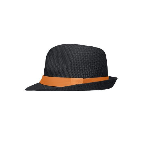Stylisher, sommerlicher Streetwear Hut mit breitem kontrastfarbigem Band (schwarz / orange) (Art.-Nr. CA211685)