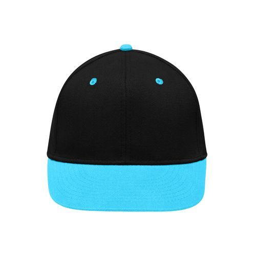 Stylische Flatpeak Cap im 6 Panel 'High Profile' Look (blau / schwarz) (Art.-Nr. CA212877)