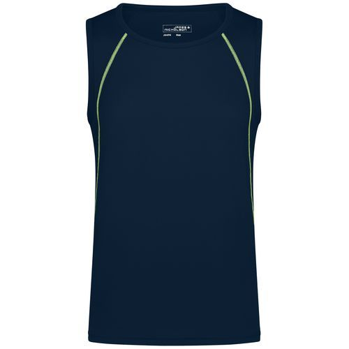 Men's Sports Tanktop - Funktions-Top für Fitness und Sport (blau / gelb) (Art.-Nr. CA218575)