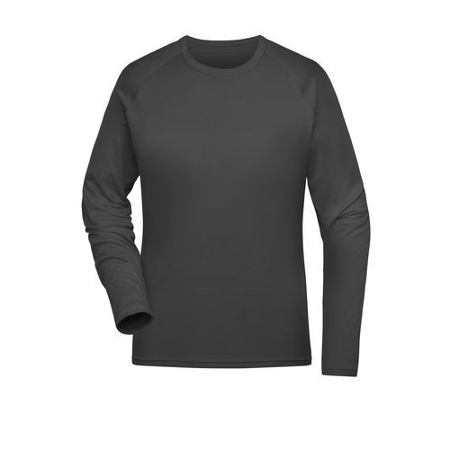 Ladies' Sports Shirt Long-Sleeved - Langarm Funktions-Shirt aus recyceltem Polyester für Sport und Fitness (grau) (Art.-Nr. CA263818)