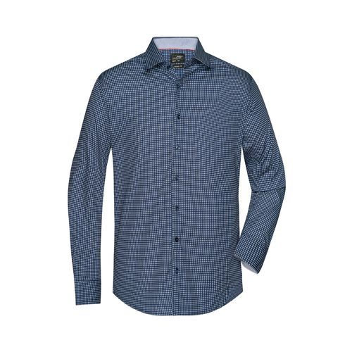 Men's Shirt 'Dots' - Klassisches Shirt mit modischem Minimal-All-Over Print (weiß / blau) (Art.-Nr. CA423030)