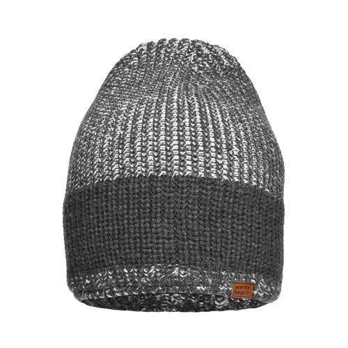 Urban Knitted Hat - Melierte Strickmütze in modischem Ripp-Design (schwarz/grau) (Art.-Nr. CA434158)