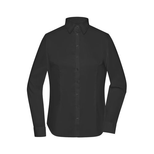 Ladies' Long-Sleeved Blouse - Bügelleichte Langarm Damen-Bluse für Business und City (schwarz) (Art.-Nr. CA637635)