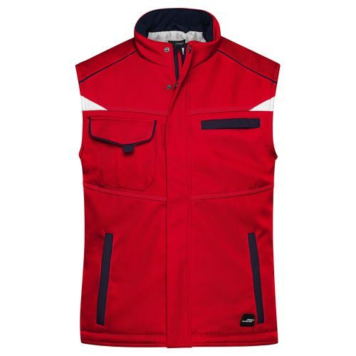 Workwear Softshell Padded Vest - COLOR - - Funktionelle Softshell Weste mit warmem Innenfutter (rot / blau) (Art.-Nr. CA660556)