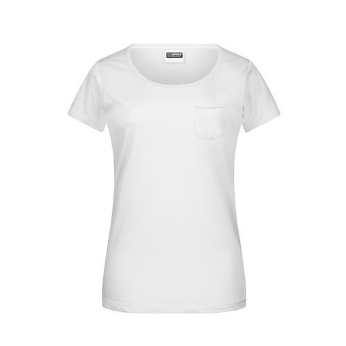 Ladies'-T Pocket - Damen T-Shirt mit modischer Brusttasche (weiß) (Art.-Nr. CA803867)