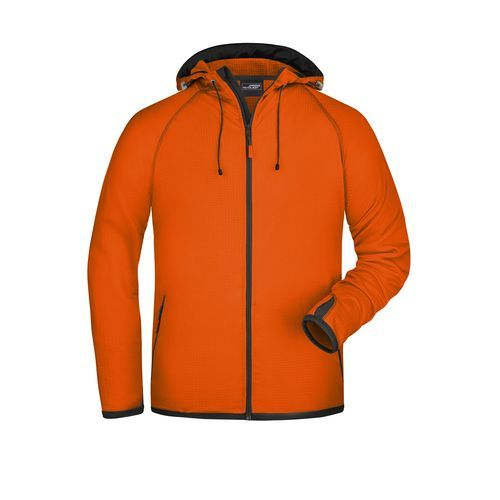 Modische Fleece Kapuzenjacke (orange / grau) (Art.-Nr. CA806437)