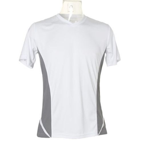 Men`s Regular Fit Team Top V Neck Short Sleeve [XL] (White) (Art.-Nr. CA000602)
