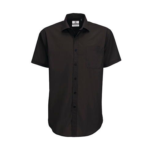 Poplin Shirt Smart Short Sleeve / Men [4XL (49/50)] (black) (Art.-Nr. CA001625)