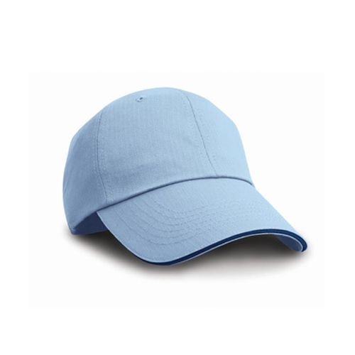 Herringbone Cap with Sandwich Peak [One Size] (Sky / navy) (Art.-Nr. CA002043)