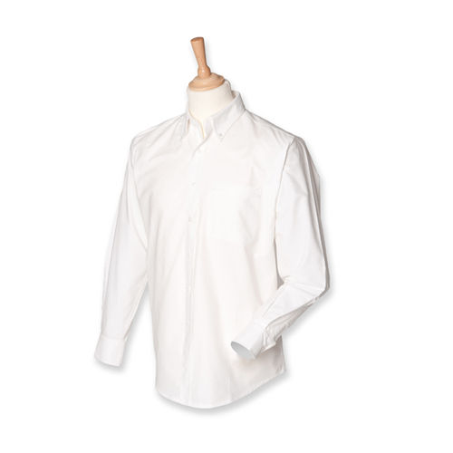 Men`s Classic Long Sleeved Oxford Shirt [XL] (White) (Art.-Nr. CA002255)