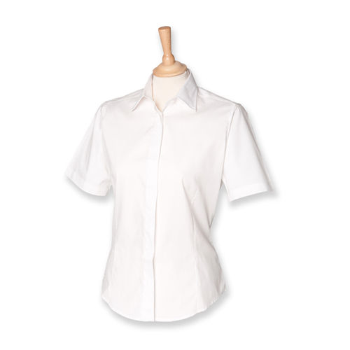 Ladies` Short Sleeved Pinpoint Oxford Shirt [L] (White) (Art.-Nr. CA005390)