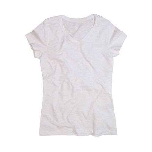 Sharon Slub V-Neck for women [XL] (Art.-Nr. CA007800) - Slub-Baumwolle | Handstiche an Ärmelabs...