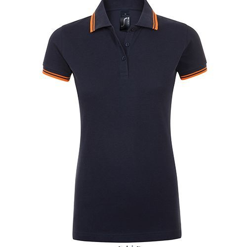 Women Polo Shirt Pasadena M French Navy Neon Orange Als
