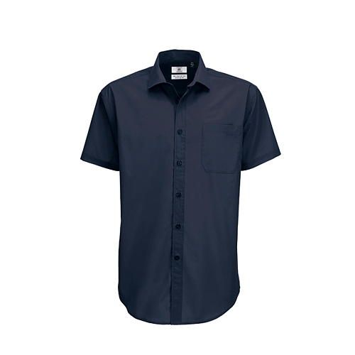 Poplin Shirt Smart Short Sleeve / Men [L (41/42)] (navy) (Art.-Nr. CA009761)