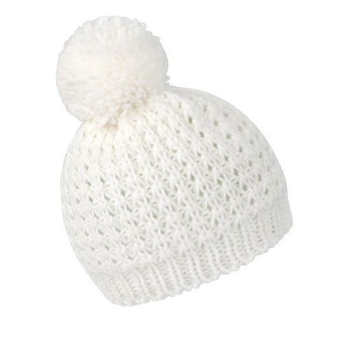Knitted Flute Pom Pom Hat [One Size] (Ivory) (Art.-Nr. CA009982)