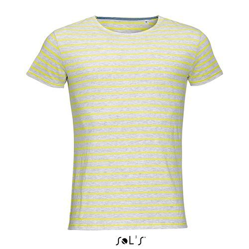 Men`s Round Neck Striped T-Shirt Miles [L] (Ash (heather) / Lemon) (Art.-Nr. CA020083)