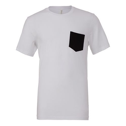 Men´s Jersey Short Sleeve Pocket Tee [XXL] (white / black) (Art.-Nr. CA021476)