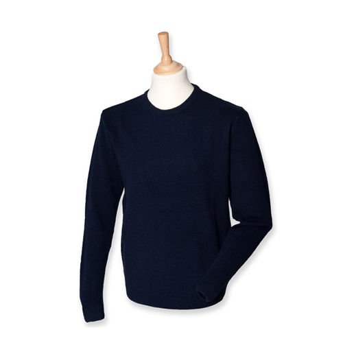 Crew Neck Lambswool Jumper [L] (Navy) (Art.-Nr. CA022383)