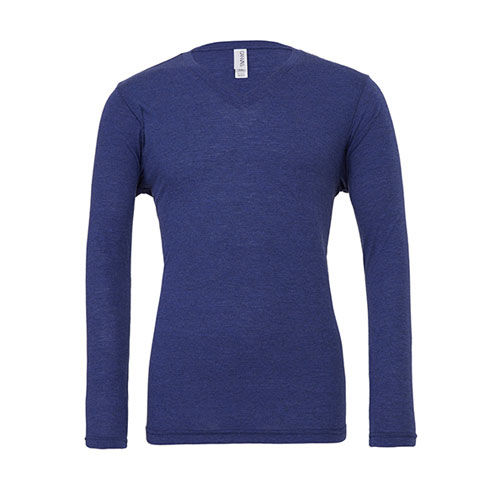 Unisex Jersey Long Sleeve V-Neck T-Shirt [S] (navy Triblend (heather)) (Art.-Nr. CA028323)