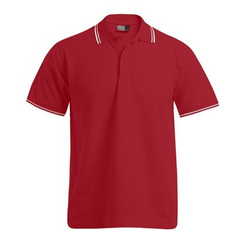 Men`s Polo Contrast Stripes [XL] (Fire Red) (Art.-Nr. CA035950)