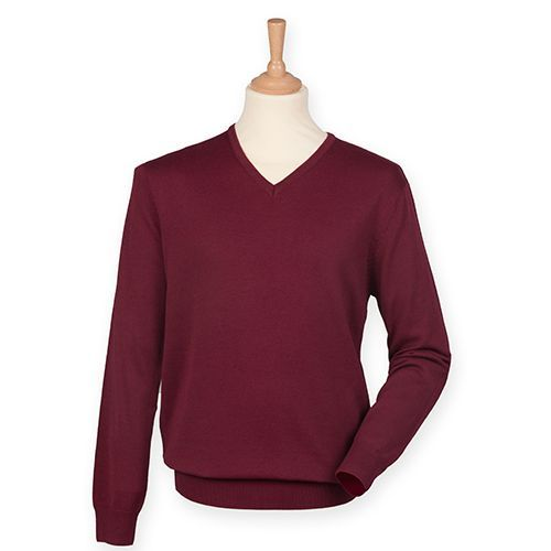 Men`s Lightweight V-Neck Jumper [XXS] (Burgundy) (Art.-Nr. CA036130)