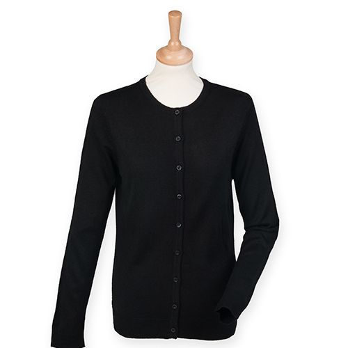 Ladies` Cashmere Touch Acrylic Crew Neck Cardigan [XXS] (Black) (Art.-Nr. CA037816)