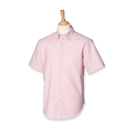 Men`s Classic Short Sleeved Oxford Shirt [XXL] (Pink) (Art.-Nr. CA039226)