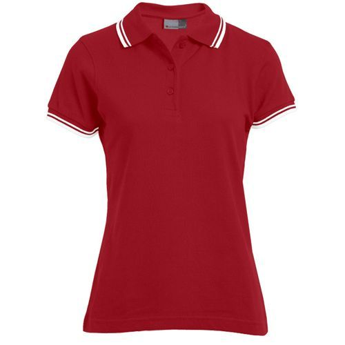 Women`s Polo Contrast Stripes [S] (Fire Red) (Art.-Nr. CA044941)
