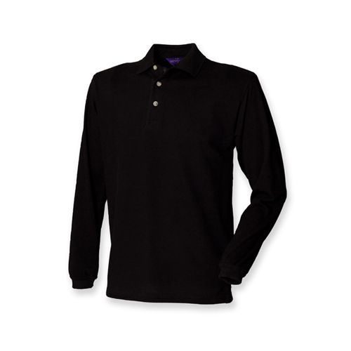 Long Sleeved Cotton Piqué Polo Shirt [L] (Black) (Art.-Nr. CA045880)