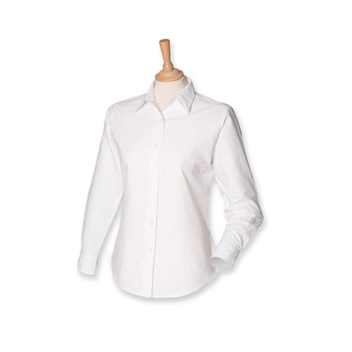Henbury Ladies Classic Long Sleeved Oxford Shirt [XS] (White) (Art.-Nr. CA058206)