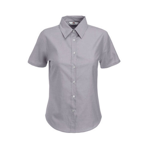 Ladies Short Sleeve Oxford Shirt [XL] (Oxford Grey) (Art.-Nr. CA058213)