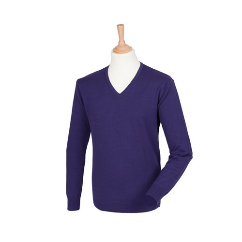 Henbury Men`s Lightweight V-Neck Jumper [S] (Purple) (Art.-Nr. CA060366)