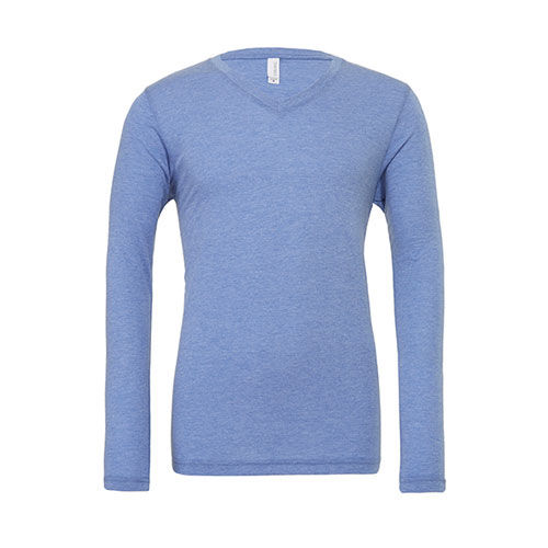 Unisex Jersey Long Sleeve V-Neck T-Shirt [XXL] (blue Triblend (heather)) (Art.-Nr. CA061197)
