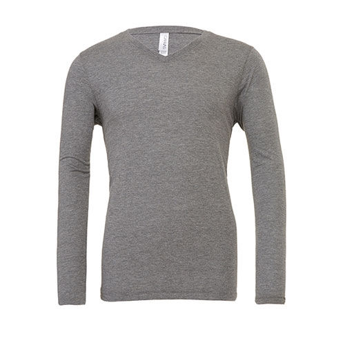 Unisex Jersey Long Sleeve V-Neck T-Shirt [M] (grey Triblend (heather)) (Art.-Nr. CA061601)