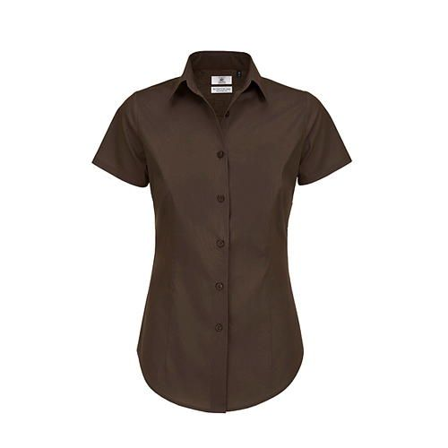 Poplin Shirt Black Tie Short Sleeve / Women [3XL (46)] (coffee Bean) (Art.-Nr. CA061743)