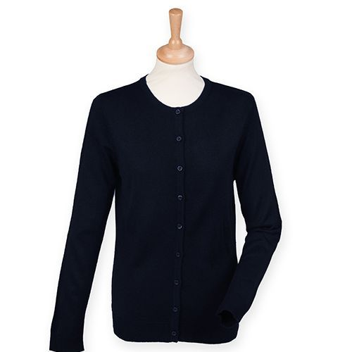 Ladies` Cashmere Touch Acrylic Crew Neck Cardigan [XS] (navy) (Art.-Nr. CA061879)