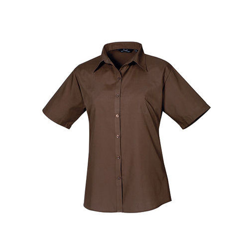 Ladies` Poplin Short Sleeve Blouse [40 (12)] (brown) (Art.-Nr. CA062348)