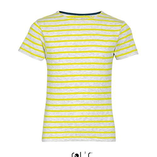 Kids Round Neck Striped T-Shirt Miles [8 Jahre] (Ash (heather) / Lemon) (Art.-Nr. CA062386)