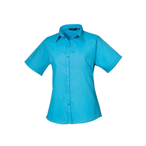 Ladies` Poplin Short Sleeve Blouse [50 (22)] (Turquoise) (Art.-Nr. CA063136)