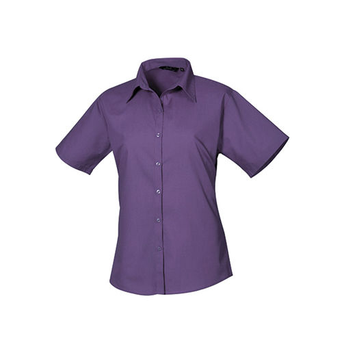 Ladies` Poplin Short Sleeve Blouse [48 (20)] (Purple) (Art.-Nr. CA063624)