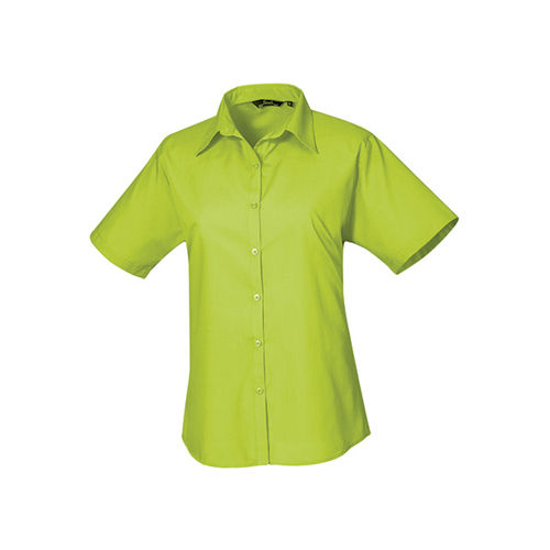 Ladies` Poplin Short Sleeve Blouse [42 (14)] (lime) (Art.-Nr. CA063967)