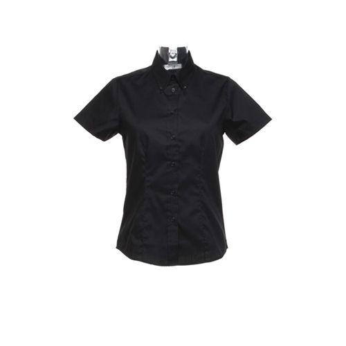 Women`s Tailored Fit Corporate Oxford Shirt Short Sleeve [40 (L/14)] (black) (Art.-Nr. CA070573)