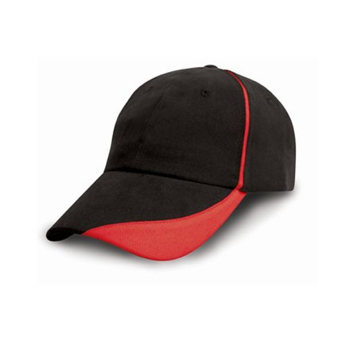 Heavy Brushed Cotton Cap with Scallop Peak and Contrast Trim [One Size] (black) (Art.-Nr. CA071094)