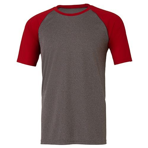 All Sport Unisex Performance Short Sleeve Raglan Tee [3XL] (dark grey heather / Sport red) (Art.-Nr. CA085780)