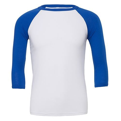 Unisex 3 / 4 Sleeve Baseball T-Shirt [S] (white / True Royal) (Art.-Nr. CA086775)