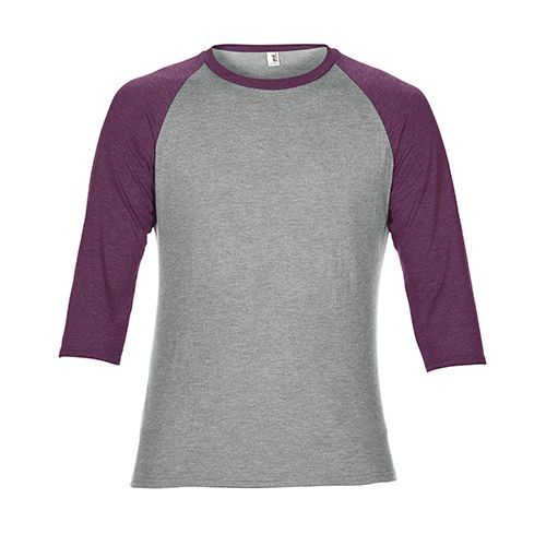Tri-Blend 3/4 Sleeve Raglan Tee [L] (heather grey / heather Aubergine) (Art.-Nr. CA096809)
