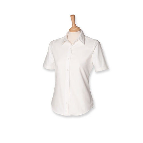 Henbury Ladies Classic Short Sleeved Oxford Shirt [L] (White) (Art.-Nr. CA098909)
