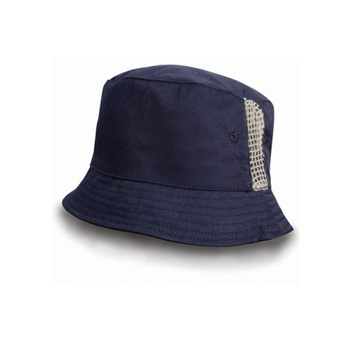 Deluxe Washed Cotton Bucket Hat with Side Mesh Panels [One Size] (navy) (Art.-Nr. CA102405)